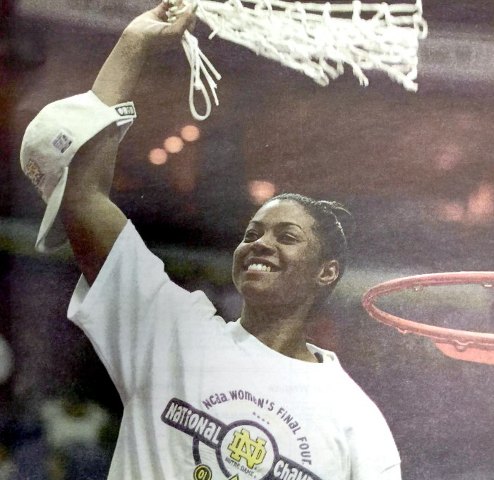 Former Irish guard Niele Ivey celebrates after Notre Dame's 68-66 win over Purdue in the NCAA championship on April 2, 2001.