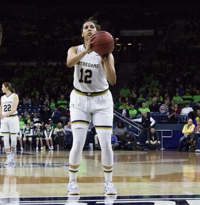 Irish sophomore forward Taya Reimer shoots a free throw in Notre Dame's 89-76 win against Georgia Tech on Jan. 22.