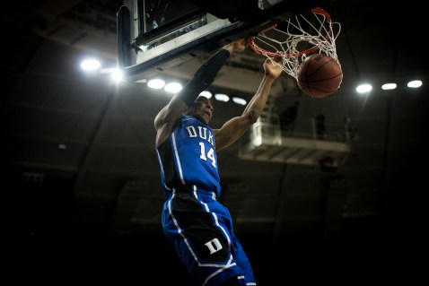 Duke junior guard Rasheed Sulaimon dunks during Notre Dame's 77-73 win over the fourth-ranked Blue Devils on Wednesday. Michael Yu   The Observer