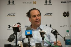 Irish coach Mike Brey responds to media questions following the team's 77-73 victory over Duke. Michael Yu   The Observer