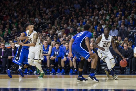 Irish senior guard Jerian Grant takes the ball to the basket during Notre Dame's 77-73 win over Duke on Wednesday at Purcell Pavilion. Grant finished with 23 points and a career-high 12 assists. Jodi Lo   The Observer