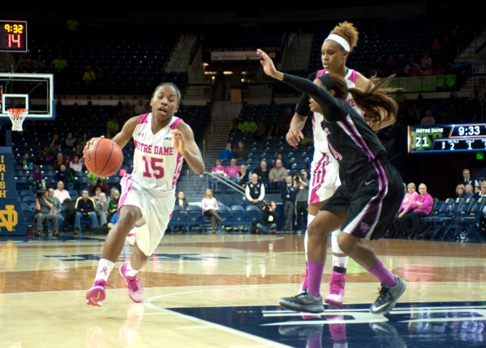 Irish sophomore guard Lindsay Allen drives into the lane during Notre Dame's 92-63 win over Wake Forest on Sunday. Allen had 18 points and four steals in the game, second on the team in both categories.
