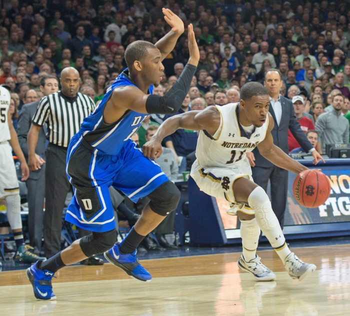Irish sophomore guard Demetrius Jackson drives to the basket during Notre Dame's 77-73 defeat of Duke at Purcell Pavilion on Jan. 28.