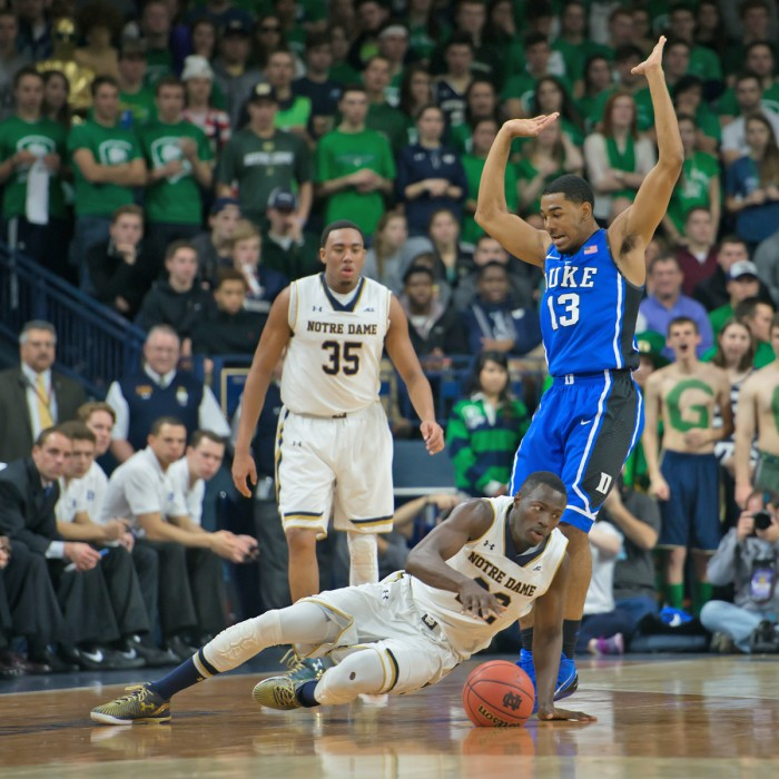 Notre Dame senior guard Jerian Grant attempts to recover from a fall during the 77-73 Irish upset of Duke on Jan. 28 at Purcell Pavilion.