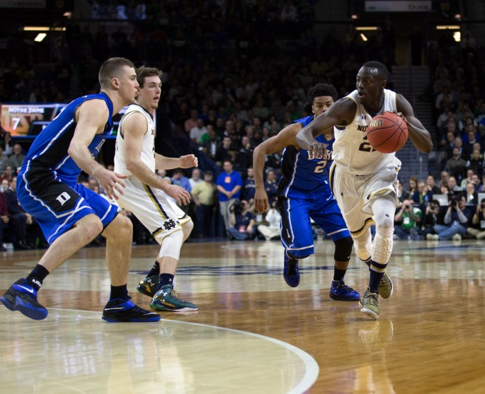 Irish senior guard Jerian Grant drives during Notre Dame's 77-73 win over Duke on Jan. 28 at Purcell Pavilion. Grant scored 23 points and added 12 assists in the victory.