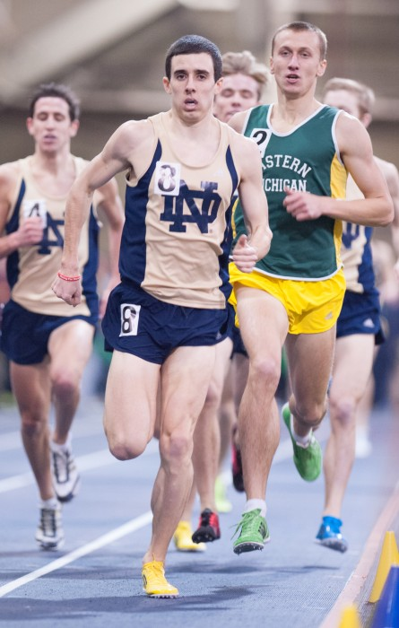 Former Irish All-American Jeremy Rae leads the field during the 2014 edition of the Meyo Mile on Feb. 7, 2014, at Loftus Sports Center. Rae won the race and set a school record at 3:57.25.