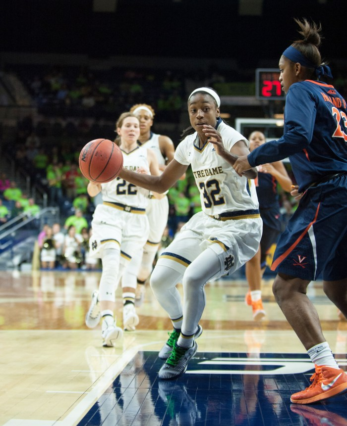 Irish junior guard Jewell Loyd drives towards the hoop during Notre Dame's 75-54 win against Virginia on Feb. 5 at Purcell Pavilion.