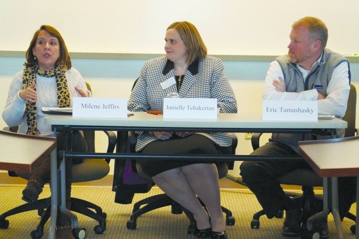 """Panelists discuss cyberbullying as a part of the """"Justice Fridays"""" series and Social Media Week last week on Saint Mary's campus."""