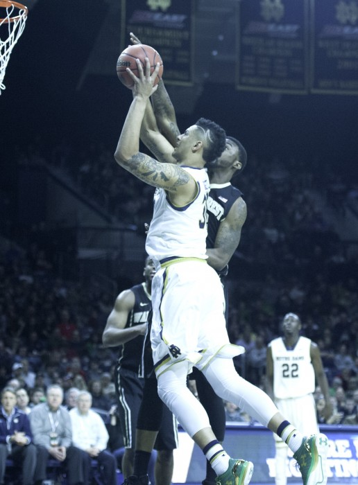 Irish junior forward Zach Auguste goes up for a contested shot in Notre Dame's 88-75 victory over Wake Forest on Feb. 17.