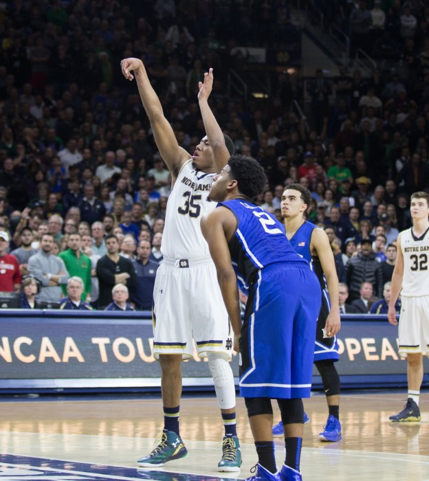 Freshman forward Bonzie Colson shoots a free throw during Notre Dame's 77-73 win over Duke on Jan.28 at Purcell Pavilion.