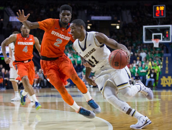 Sophomore guard Demetrius Jackson cuts by a defender in the Irish loss to Syracuse on Tuesday at Purcell Pavilion.