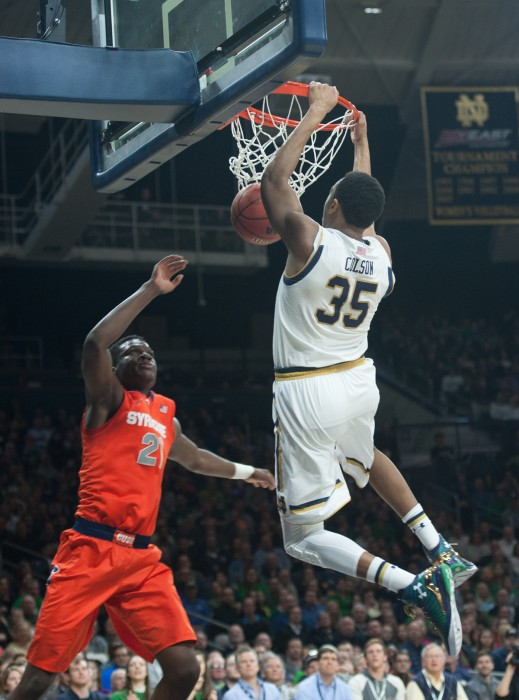 Freshman forward Bonzie Colson dunks the ball during Notre Dame's 65-60 loss to Syracuse on Feb. 24 at Purcell Pavilion.