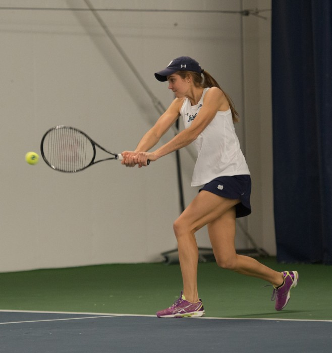 Sophomore Mary Closs returns a shot during Notre Dame's 6-1 loss to No. 8 Stanford at Eck Tennis Pavilion on Feb. 6.