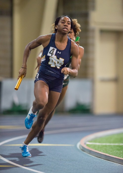 Irish junior sprinter/hurdler Margaret Bamgbose races in a relay event in the Notre Dame Invitational at Loftus Sports Center on Jan. 24.