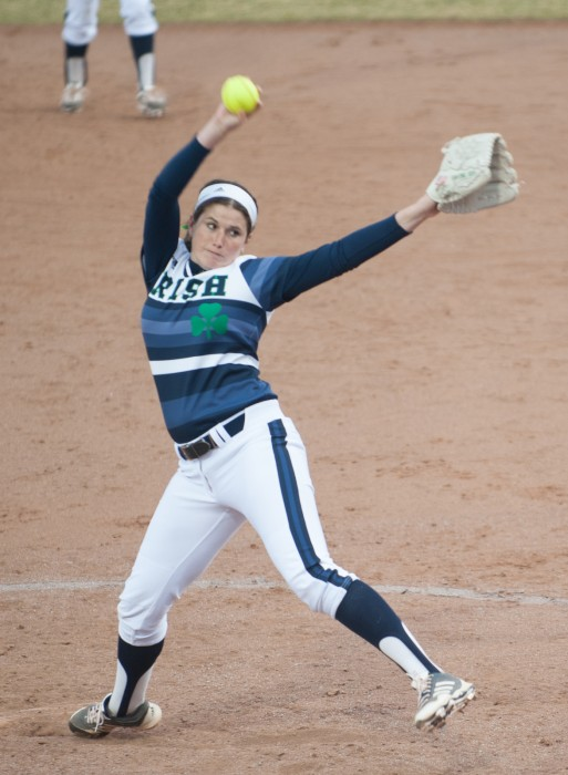 Sophomore Rachel Nasland winds up during a April 2 game against Michigan State, an 11-4 Irish victory at Melissa Cook Stadium.