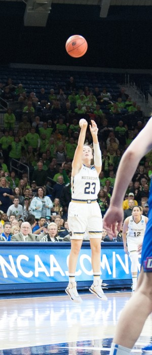 Irish junior guard Michaela Mabrey takes a 3-pointer during Notre Dame's 79-67 win over DePaul on Sunday.