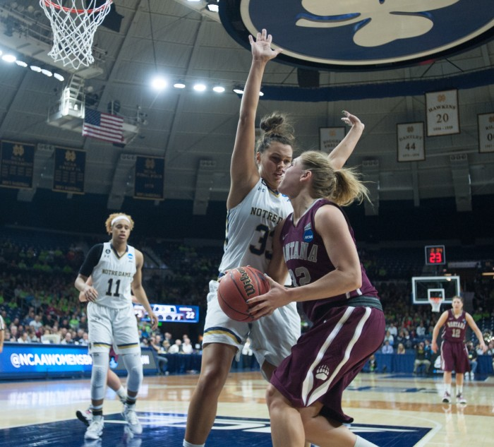 Irish freshman forward Kathryn Westbeld plays defense during Notre Dame's 77-43 win over Montana on Friday.