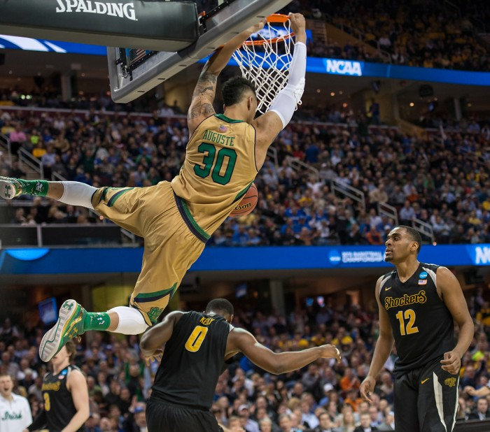 Junior forward Zach Auguste throws down a dunk over Wichita State on Thursday night. Auguste had 15 points in the 81-70 victory.
