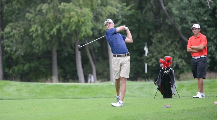 Senior David Lowe tees off on August 31 against IUPUI during the Notre Dame Kickoff Classic. Lowe finished in 78th place over three rounds at the Mason Rudolph Championship.