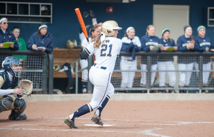 Sophomore outfielder Karley Wester takes off after putting the ball in play during Notre Dame's 6-1 win over Georgia Tech on March 21.