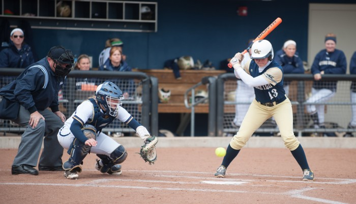 Irish senior catcher Cassidy Whidden handles a low pitch during Notre Dame's doubleheader against Georgia Tech March 21 at Melissa Cook Stadium. Notre Dame won both games, 6-1 and 13-0, respectively.