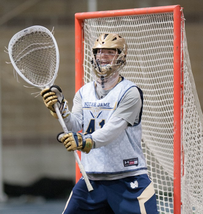 Sophomore Shane Doss blocks the goal in a scrimmage against Air Force on Jan. 31 at Loftus Sports Center. Doss has 91 saves for Notre Dame this season.