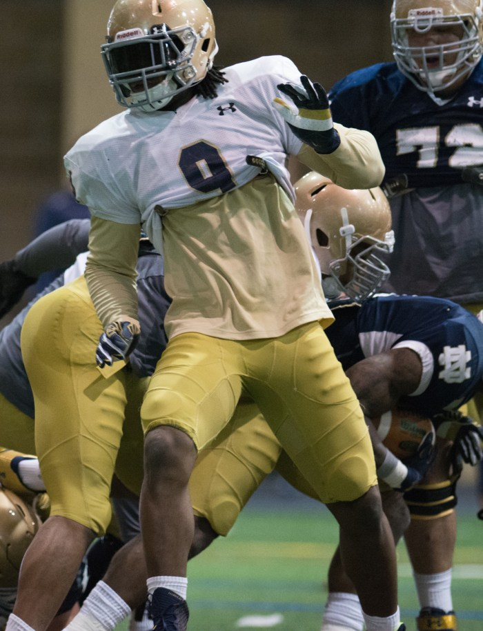 Irish junior linebacker Jaylon Smith participates in a drill during Notre Dame's March 27 practice at Loftus Sports Center.