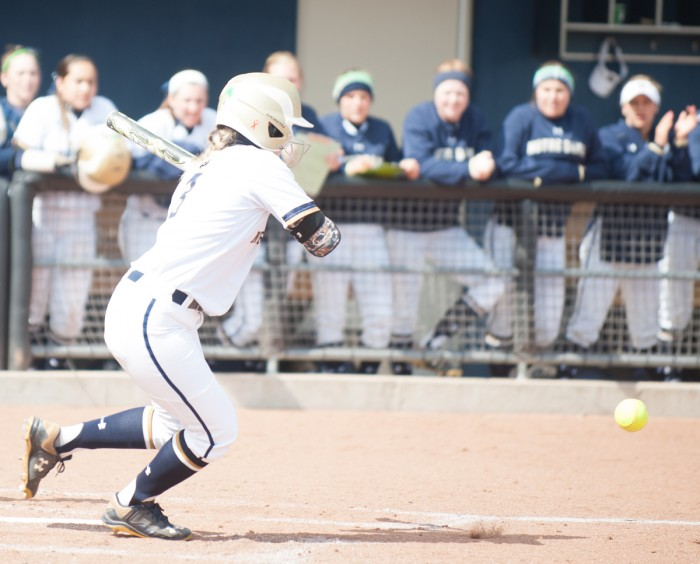 Irish senior outfielder Emilee Koerner swings at a pitch in Notre Dame's 13-0 win over Georgia Tech on March 21.