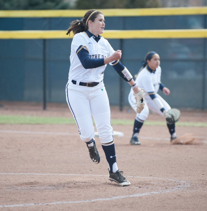 Irish sophomore right-hander Rachel Nasland delivers a pitch during Notre Dame's 6-1 victory over Georgia Tech on March 21 at Melissa Cook Stadium. Nasland threw a complete game to earn the victory.