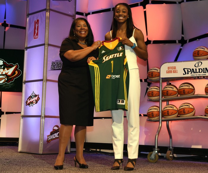 WNBA President Laurel Richie poses with Jewel Loyd after she was selected number one overall by the Seattle Storm during the 2015 WNBA Draft Presented By State Farm on April 16, 2015 at Mohegan Sun Arena in Uncasville, Connecticut.  NOTE TO USER: User expressly acknowledges and agrees that, by downloading and/or using this Photograph, user is consenting to the terms and conditions of the Getty Images License Agreement. Mandatory Copyright Notice: Copyright 2015 NBAE  (Photo by Brian Babineau/NBAE via Getty Images)