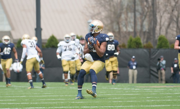 Senior C.J. Prosise catches a punt during the Blue-Gold Game at LaBar Practice Complex. The receiver-turned-running back rushed for 67 yards on 12 carries in Saturday's scrimmage.