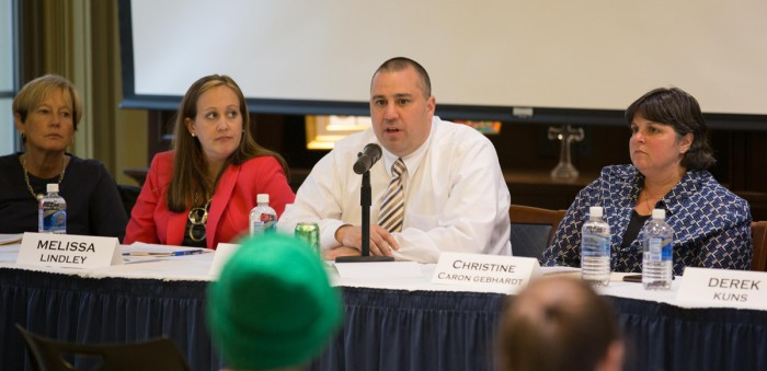 """Ryan Willerton, director of the Office of Community Standards, speaks at a Monday panel on """"The Hunting Ground."""""""