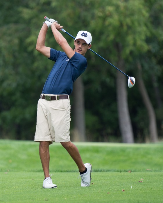 Junior Zach Toste holds his finish at the Notre Dame Kickoff Challenge at Warren Golf Course on Aug. 31. The team placed first at the tournament, posting a 561 team score for 36 holes.