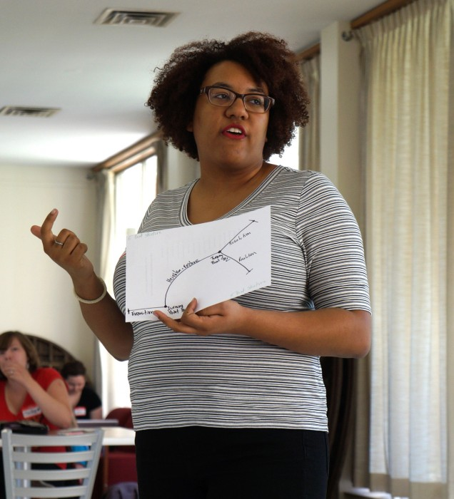 A member of the Second City, Ali Barthwell, instructs a workshop in the Regina South Lounge on Sunday afternoon.