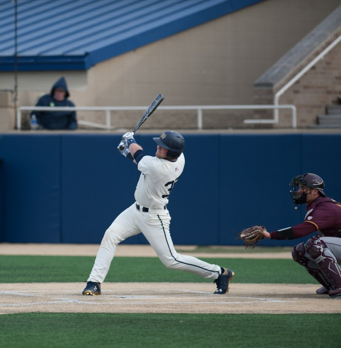 Sophomore catcher Ryan Lidge follows through on a swing during Notre Dame's 8-3 win against Central Michigan on March 18.