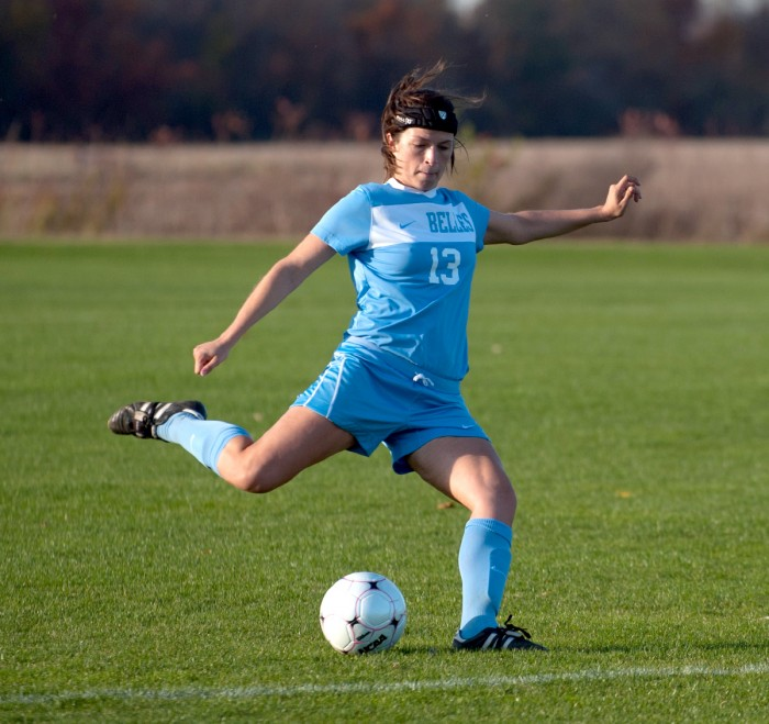 Sophomore defender Emily Rompola lines up a pass during a 2-0 loss to Olivet on Oct. 28 at Saint Mary's Soccer Field.