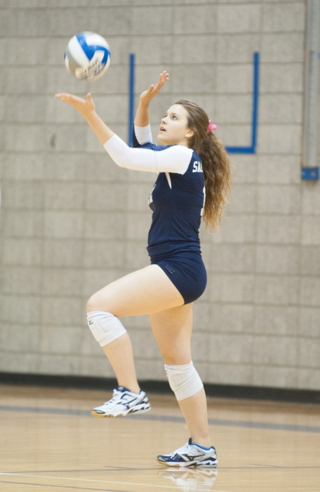 Belles senior Kati Schneider lines up a serve in Saint Mary's 3-0 loss to Hope on Oct. 31 at Angela Athletic Facility.