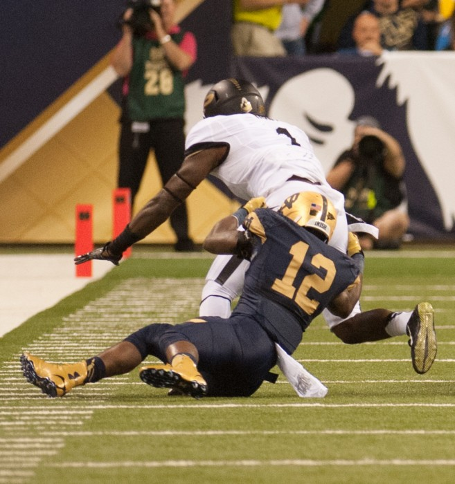 Junior cornerback Devin Butler makes a tackle in a 30-14 victory against Purdue on September 13 at Lucas Oil Stadium. The game was part of Notre Dame's Shamrock Series.