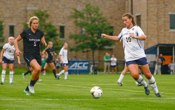Irish senior midfielder Glory Williams prepares to take a touch during Notre Dame's 2-1 win over Santa Clara on Friday.