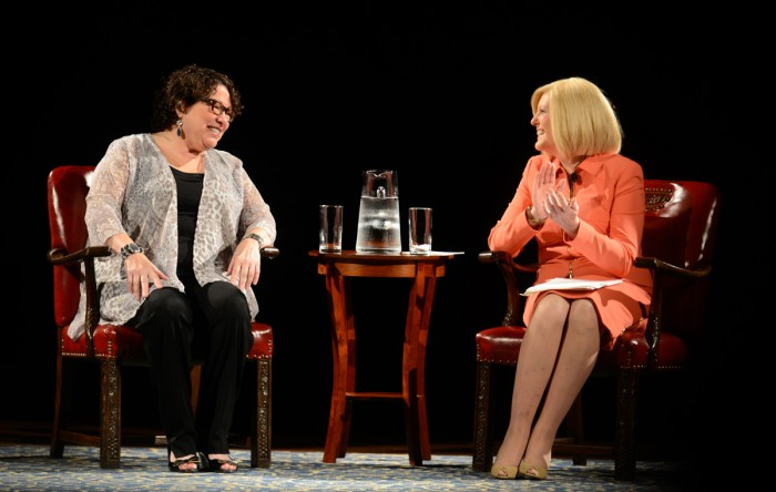 Supreme Court Justice Sonia Sotomayor, left, converses with NBC news correspondent Anne Thompson, a member of the Notre Dame class of 1979, on Wednesday night in the DeBartolo Performing Arts Center.