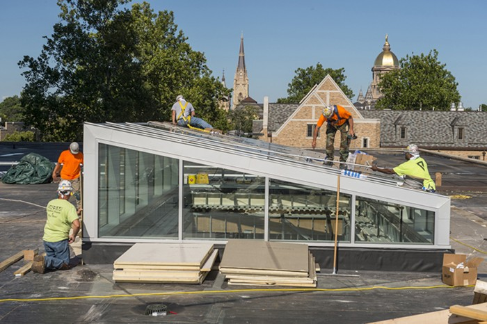July 21, 2015; Hesburgh Library renovations. (Photo by Barbara Johnston/University of Notre Dame)