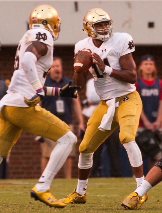 Sophomore quarterback DeShone Kizer drops back for a pass in Notre Dame's dramatic come from behind victory over Virginia on Saturday. He will take over as the starter this weekend against Georgia Tech.