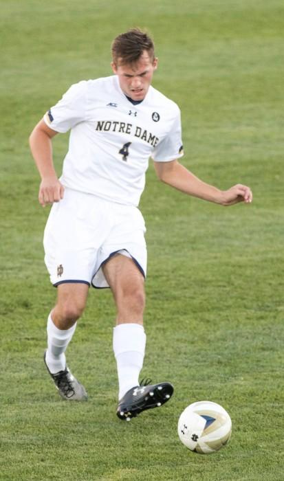 Irish junior defender Matt Habrowski pushes the ball during Tuesday night's 1-0 loss to Xavier at Alumni Stadium.
