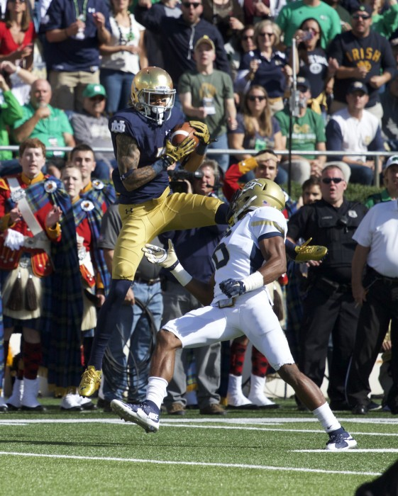 Irish junior receiver Will Fuller hauls in a 46-yard touchdown pass from sophomore quarterback DeShone Kizer in the first quarter of Notre Dame's 30-22 win over Georgia Tech. With his performance Saturday, Fuller topped the 100-yard mark for the third time in as many games this year, and sits fifth nationally with 397 receiving yards on the season.