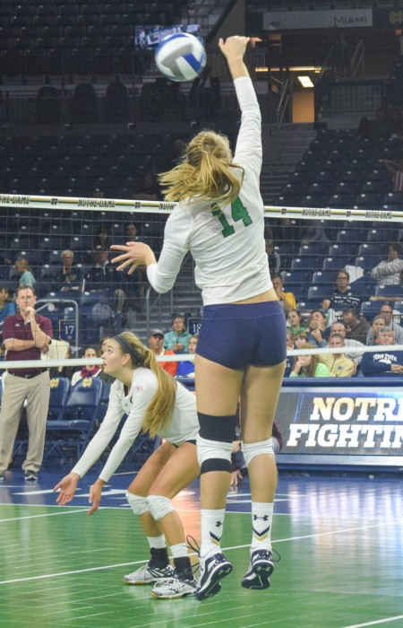 Senior outside hitter Haley Bonneval attacks the net in a 3-1 victory over Mississippi State during the Golden Dome Invitational on Sept. 11. The Irish return to Purcell Pavilion on Friday against Louisville.