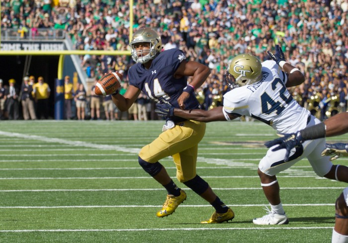 Sophomore quarterback DeShone Kizer took the reins from Malik Zaire in his first start for the Irish, a 30-22 victory over Georgia Tech.