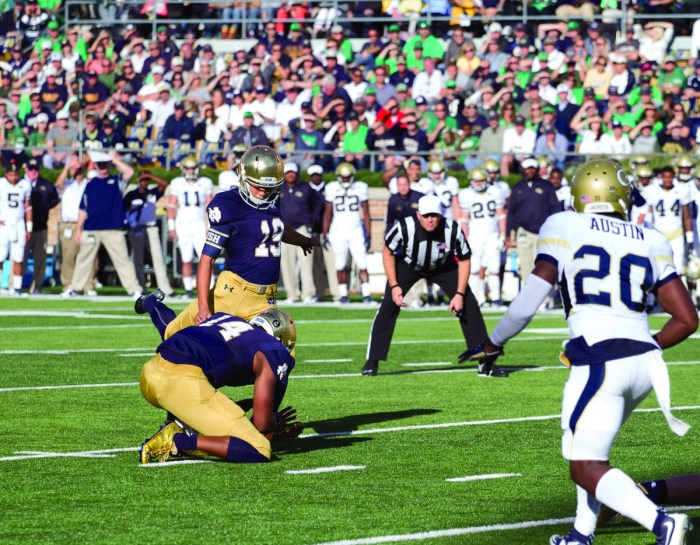 Irish freshman kicker Justin Yoon winds up for a field goal attempt during Notre Dame's 30-22 win over Georgia Tech. Yoon is 4 for 6 on field goals this year but missed an extra point Saturday.