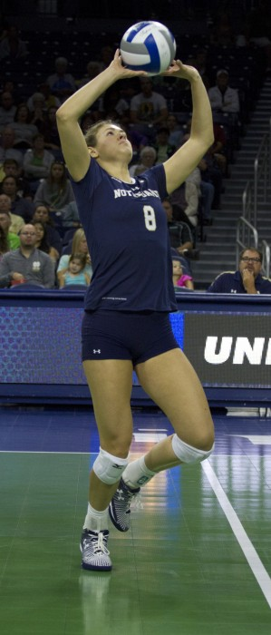 Sophomore setter Maddie Dilfer sets the ball during the Irish loss on Sunday against Flordia State at Purcell Pavilion.