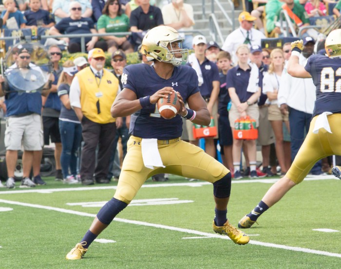 Irish freshman quarterback Brandon Wimbush scores a touchdown during Notre Dame's 62-27 win over Massachusetts on Saturday at Notre Dame Stadium. Wimbush had four carries for 92 yards in the game.
