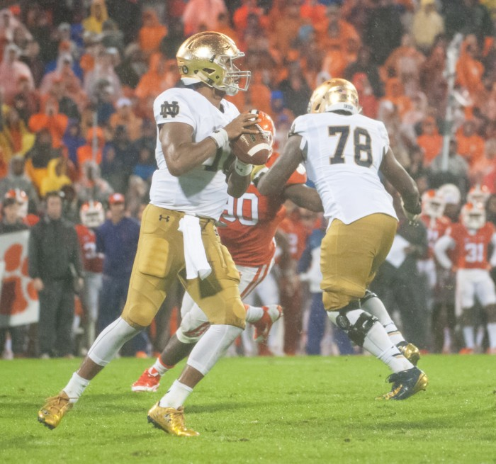 Sophomore quarterback DeShone Kizer drops back for a pass  during Notre Dame's 24-22 loss at No. 6 Clemson on Saturday.